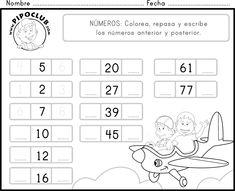 Imprime, repasa y colorea el número anterior y el siguiente.