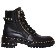 Balmain Studded Army boots (€1.395) ❤ liked on Polyvore featuring shoes, boots, black, army boots, military boots, black combat boots, black leather shoes and leather combat boots