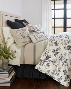 French Laundry Home Blackbird Toile Bedding. Country. Modern Farmhouse Décor.