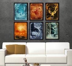 Spiel der Throne Poster Satz inspiriert von der beliebten TV-SHOW, Plakatkunst inspiriert, Poster Set, Alternative Poster, Minimalist-TV-Serie,