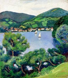 Tegernsee, by August Macke a member of Germany's Blue Rider group. German Expressionist, Fine Art, History Painting, German Expressionism, Painting, August Macke, Art, Expressionist, Pictures