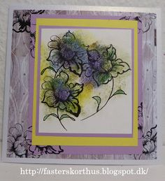 Fasters korthus: Lilla blå blomster stemplet kort
