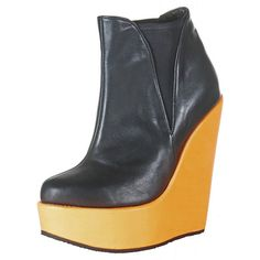 Kristoff Roma Genuine Leather Ankle Boot 6' Inch Leather Wrapped Natural Cork Wedge 2' Platform * Check this awesome product by going to the link at the image.