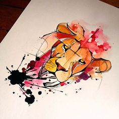 watercolor lion tattoo - Google Search