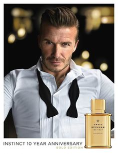 David Beckham There's no need to hire a male model when you're as handsome as David Beckham. This year, he celebrates the 10th anniversary of his seductive Instinct fragrance with Instinct Gold Edition, a more intense version of the original. | POPSUGAR Beauty