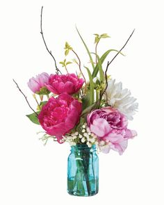 Peony and Dahlia Silk Flower Arrangement - only at Petals