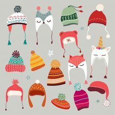Winter caps collection with hand drawn seasonal elements Premium Vector Winter Illustration, Christmas Illustration, Illustration Art, Christmas Mood, Noel Christmas, Christmas Lights, Christmas Decor, Xmas, Holiday Decor
