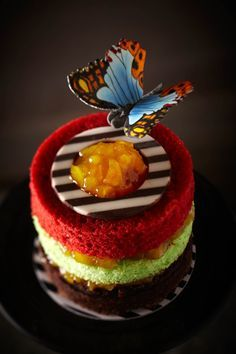 MADAME BUTTERFLY ~ Exotic & Intense blend of Beetroot, Pistachio & Chocolate layered Chiffon with Apricot Compote, Fresh Cream and crowned with Dark & White Chocolate Another Signature Cake with Hand-painted Sugar Butterfly.