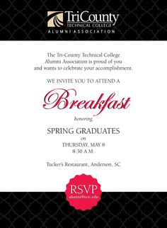 The Alumni Association hosted a breakfast for spring graduates.