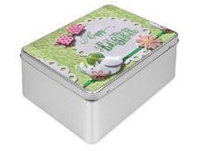 Easter Tin Gift Box in pink white and green with white bunny and pink bow