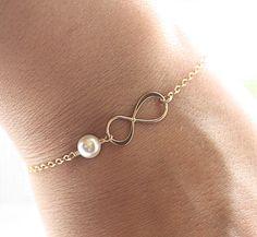 Gold Infinity Pearl Bracelet Dainty Everyday Gold by BijouxbyMeg, $25.00