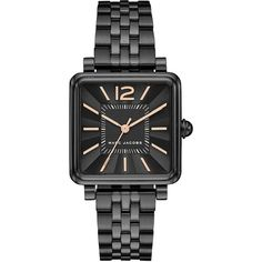 Marc Jacobs Vic Ion-Plated Stainless Steel 5-Link Bracelet Analog... ($250) ❤ liked on Polyvore featuring jewelry, watches, black, square dial watches, stainless steel watch bracelet, analog watch, marc jacobs jewellery and marc jacobs watches