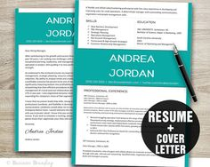 Teal Resume Template / CV Template / Instant by BusinessBranding