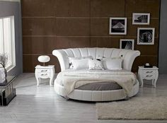 Furniture , Ultimate Modern Round Bedroom Frame : White Modern Round Bedroom Bed Frame With Shag Rug And Wall Arts