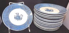 "Set of 14 Currier & Ives Royal Pottery Blue & White Steamship Saucers, 6"" #CurrierandIves"