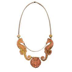grotto necklace coral/green & gold | rosita bonita