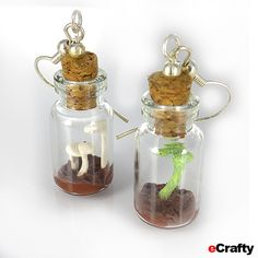 Mini Terrarium Jewelry, Sea Glass Bottle Toppers, Mother Earth Bud Vases