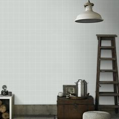 Vliesbehang ruit grijs-wit (dessin 33-258)  Behang  Behang  KARWEI