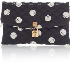 Dolce & Gabbana Polka Dot Quilted Clutch (9.299.495 IDR) ❤ liked on Polyvore featuring bags, handbags, clutches, black, polka dot purse, locking purse, satin handbags, dolce gabbana handbags and kiss-lock handbags