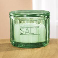 Green Depression Style Glass Salt Cellar