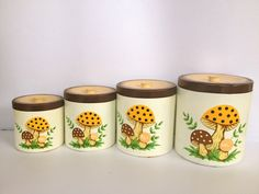 Canister Set - Nesting Canister Set of 4 - Plastic Canisters in Merry Mushroom Pattern by SarahLovesLamps on Etsy