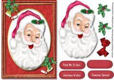 Lovely Santa in a oval frame  on Craftsuprint - Add To Basket!