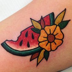 Watermelon done by Vinny @bodkintattoo @kisscoolvinny #traditionaltattoo