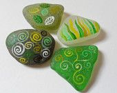 Mixed patterns in earthy natural colours - Set of 4 hand painted English sea glass pieces