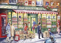 Baxters General Store 500 piece puzzle by Val Goldfinch Jigsaw Puzzels, Illustrations, Illustration Art, Jim Mitchell, 2000 Piece Puzzle, Casa Retro, Shops, Goldfinch, General Store