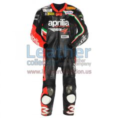 Max Biaggi Aprilia 2012 Leather Suit, The specially designed leather Suit was worn by Max Biaggi when he fell at lmola (Italy) during Monday post race testing.