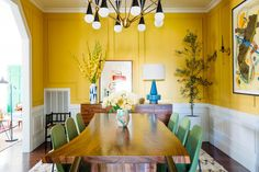 Astounding Cool Tips: Interior Painting Palette Living Rooms interior painting colors rustic.Interior Painting With Wood Trim living room paintings tips. Yellow Dining Room, Dining Room Colors, Dining Room Design, Yellow Rooms, Colorful Dining Rooms, Interior Desing, Interior Paint Colors, Room Interior, Interior Painting