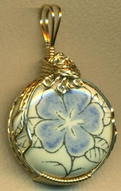 Blue Flower Porcelain Brass Wire Wrap Pendant