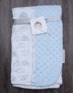 d101561f2ee5 Blankets   Beyond Blue White Elephant Minky Dot Baby Boy Security Crib  Lovey
