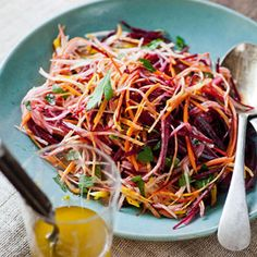 This gorgeous, colorful slaw bursts with good-for-you ingredients.