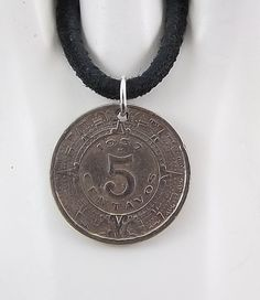 1937 Mexican Coin Necklace 5 Centavos Mens by AutumnWindsJewelry Coin Jewelry, Coin Necklace, Washer Necklace, Leather Cord, Suede Leather, Black Suede, Coin Pendant, Ball Chain, Coins