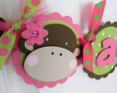 12 Monkey Birthday Party Favor Tags in Pink and Green. $10.00, via Etsy.