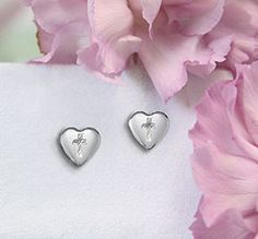 Sterling Heart and Cross Earrings for children.