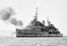 HMS Belfast, British Royal Navy light cruiser, 1952.