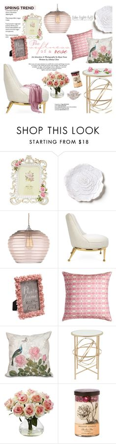 """""""The Softness of a rose"""" by einn-enna ❤ liked on Polyvore featuring interior, interiors, interior design, home, home decor, interior decorating, Bellezza, Heathfield & Co., Jonathan Adler and Bunglo"""