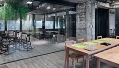 Earth tone colors and materials, such as wood and stone, create such a relaxing atmosphere. IPEVO office