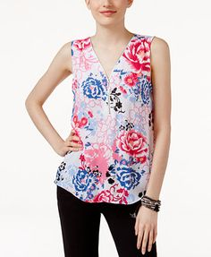 INC International Concepts Petite Printed Zip-Front Top, Only at Macy's   macys.com