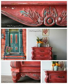 Gorgeous Coral Red Chest Hand Painted / Side by TheTurquoiseIris