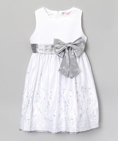 Look what I found on #zulily! White & Silver Bow Embroidered A-Line Dress - Toddler & Girls by S Square #zulilyfinds