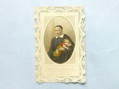 Antique image religieuse française  Image pieuse St Vincent