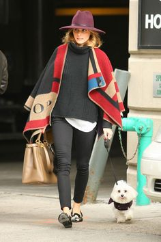 Olivia Palermo's Cozy Poncho Is A Perfect Winter Coat Alternative #refinery29  http://www.refinery29.com/2014/10/76606/olivia-palermo-cape-styling#slide1  A poncho is exactly what your wardrobe's been missing all this time.