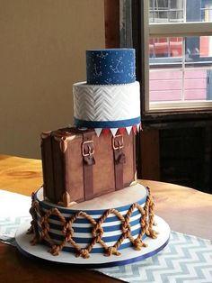 Nautical travel wedding cake
