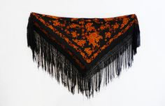 Antique black silk Chinese piano shawl Canton Manton by evaelena