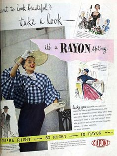 Rayon by Dupont, March 1950 - that blouse!!!! #vintage #fashion #1950s