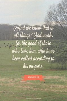 And we know that in all things God works for the good of those who love him, who have been called according to his purpose. - Romans 8:28