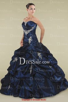 Dark Navy Strapless Neckline Ball Gown with Graceful Applique for Quinceanera Party